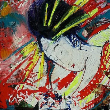 Japanese Art Asian Art by American artist Matt Pecson 24x24 Pop Art Painting Mixed on Canvas Painting Geisha Painting Original Mixed Media