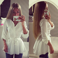 Cute Women's Blouse Shirt Long Sleeve Button Down Casual Tops Ladies Slim Dress