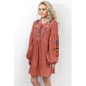 Tassels + Embroidery Long Sleeve Dress {Clay}