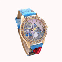 Casual Sports Watches with Diamond for  Women Girl Leather Strap Wrist Watch Best Christmas Gift