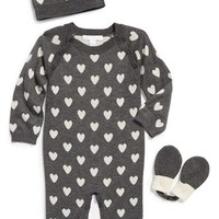 Infant Girl's Burberry Cashmere Romper, Hat & Mittens