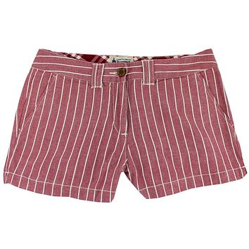 Women's Shorts in White and Maroon Oxford Stripe by Olde School Brand - FINAL SALE