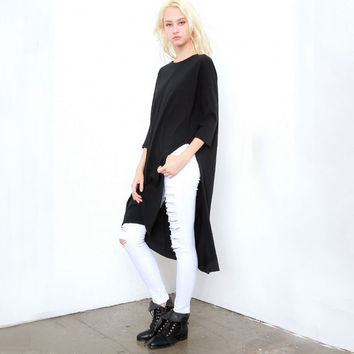 Black Knitted High Slit T-Shirt