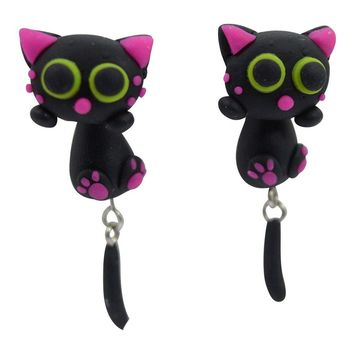 I Love Cat - My Little Black Cat Meow Clinging Anime Cat Dangle Post Earrings