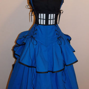 British Police Phone PUBLIC CALL BOX Under Bust Full Bustle Gown Costume - Custom - by LoriAnn Costume Designs