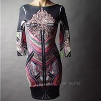 Tattoo Mirror Print Glam Punk Rock Evening Bodycon Pencil Wiggle 54 ac Dress S