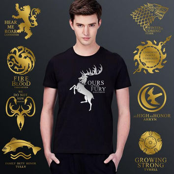 HOT Game Of Thrones Cosplay High-Grade Bronzing T-shirt Pure Cotton Male Loose Big Yards Short Sleeves