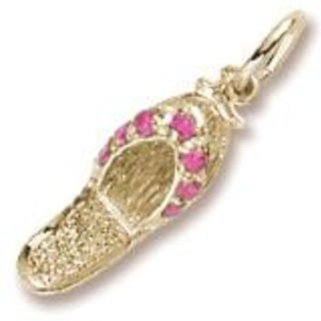 Ruby Red Sandal Charm in Yellow Gold Plated
