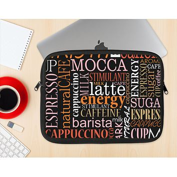 The Cafe Word Cloud Ink-Fuzed NeoPrene MacBook Laptop Sleeve