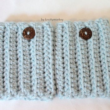 Hunter Boot Cuffs Boot Warmers Leg Warmers Chunky Baby Blue Boot Socks Womens Leggings