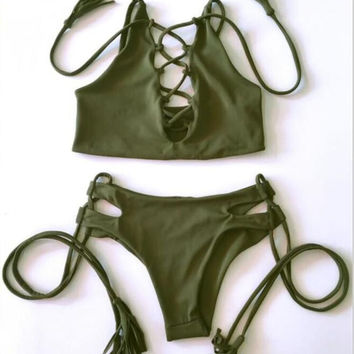 Green Color Bikini Swimsuit for Women Bandage Swimwear Bathing Suit