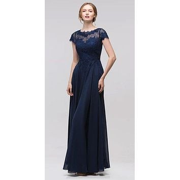 Navy Blue Short Sleeves Applique Bodice A-Line Long Formal Dress