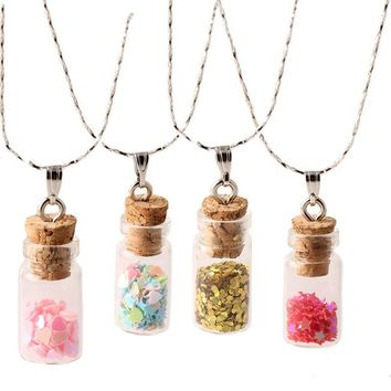 925 Sterling Silver Plated Necklace Wishing Bottle Glass Necklaces & Pendants Jewelry Accessories Luminous Gem Pendant for Women