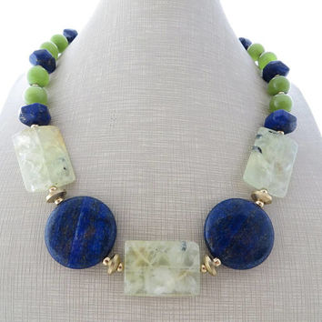 Green prehnite necklace, blue lapis lazuli necklace, chunky stone choker,  big bold necklace, beaded necklace, summer jewelry modern jewelry