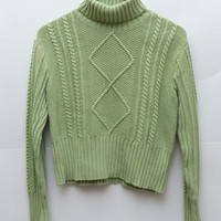 Green Turtleneck / Cable Knit Sweater / Mint Green / Large / High Neck Mock Neck / Chunky Knit Green Sweater / Pastel Womens 90s Grunge