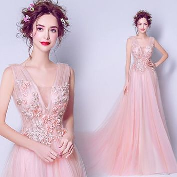 Dress for Graduation Pink Evening Long Prom Dress Lace Applique Flower Pearl Long V-neck