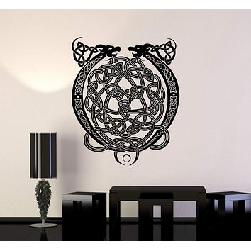 Vinyl Decal Celtic Cross Ornament Dragon Ireland Irish Pattern Wall Stickers Unique Gift (ig2772)