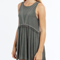 Open Back Baby Doll Tunic - Charcoal