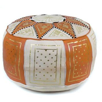 Orange / Beige Fez Moroccan Leather Pouf Round Genuine Leather