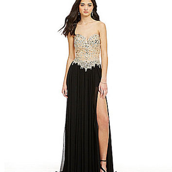Glamour by Terani Couture Crystal Beaded Bodice Gown | Dillards.com