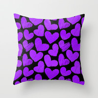 Sketchy hearts in black and purple Throw Pillow by Silvianna