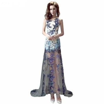 Fashion Evening Dress Elegant Scoop Neck See Sheer Tulle With Appliques Sequined Mermaid Evening Dresses