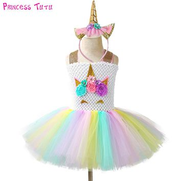 Pageant Unicorn Tutu Dress and Headband Kids Girl Flowers Birthday Party Dresses Children Halloween Christmas Costume Outfit