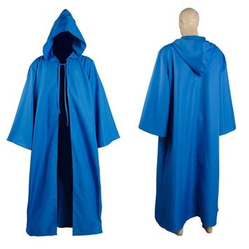 Star Wars Force Episode 1 2 3 4 5 New  Jedi Sith tunic/Hooded Costume Blue/Red/White/Green Robe Cloak Set Cape Hoodie Halloween Carnival for adult men AT_72_6