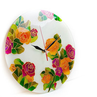 Roses glass painting wall clock. Wall art.
