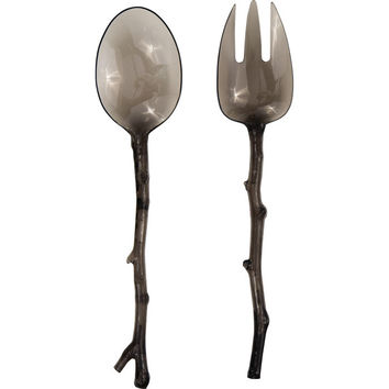 Translucent Gray Twig Salad Servers