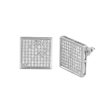 Micropave CZ Stud Earrings Huge 14mm Square Shape Sterling Silver Screwback