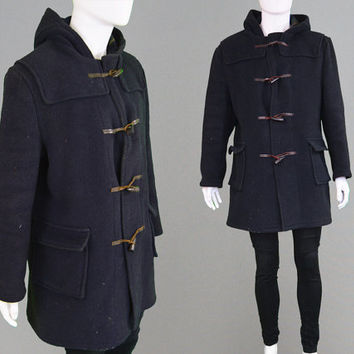 Vintage 60s 70s Mens Duffle Coat Navy Blue Hooded Coat Toggle Coat Mens Winter Coat Wool Coat Mens Mod Coat Gloverall Duffel 1960s