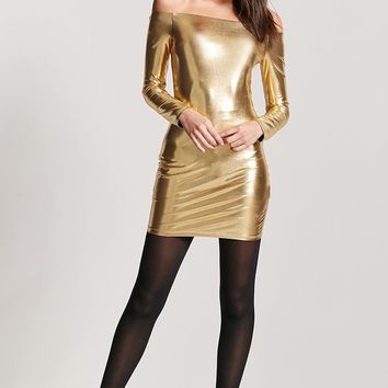 Off-the-Shoulder Metallic Mini Dress