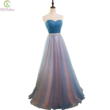 SSYFashion Simple Blue Tulle Strapless Sleeveless Long Bridesmaid Dresses Bridal Banquet Sexy Party Formal Gown Robe De Soiree