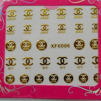 Chanel nail tool products nail polish adhesive decoration metal texture logo patch 3D applique double C logo sticker