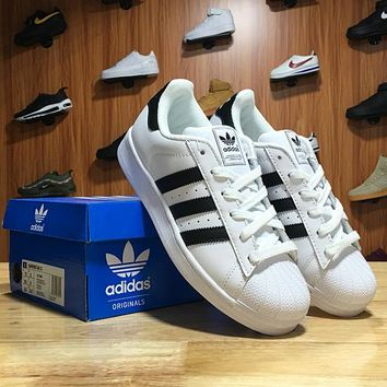 Adidas Superstar Shell-toe Flats Sneakers White Black Line Causel Sport Shoes