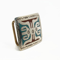 Navajo Chip Inlaid Turquoise Belt Buckle, Signed HB, Sterling Silver, Coral Inlay, Vintage Buckle, Native American, Turquoise Buckle