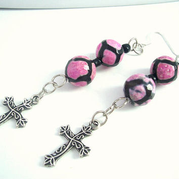 Christian Beaded Earrings, Hot pink and black Cross Jewelry, Spiritual Earrings, Cross Earrings
