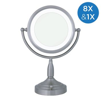 Zadro Round Dual-Sided Lighted Vanity Mirror 1X/8X