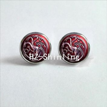 NES-0068   Game of thrones Stud Earrings House Targaryen Ear Nail Gragon Egg Earrings Jewelry Glass Cabochon Earrings HZ4