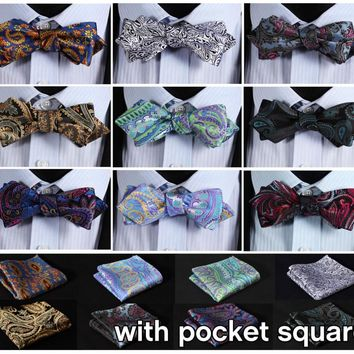 Paisley Floral Silk Woven Men Wedding Butterfly Pocket Square Diamond Point Tip Bow Tie Hanky Self BowTie Handkerchief Set ETA