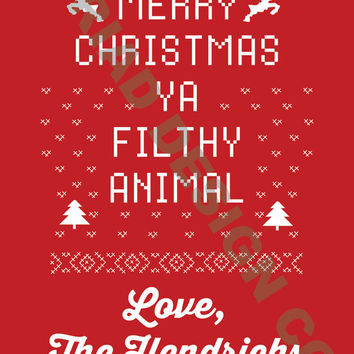DIY Christmas Card - Printable -  Home Alone - Merry Christmas Ya Filthy Animal