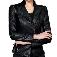 Women PU Leather Jacket Spring Jackets Zipper Black Faux Leather Bomber Jacket Motorcycle Outerwear