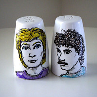 Salt and Pepper Shakers 80's Icons Painted White Ceramic Illustration homage Portrait retro kitschy handmade by sewZinski