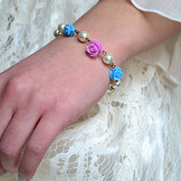 Flower Girl Bracelet Ivory Pearl Bridesmaids Bracelet Purple Rose Jewelry Blue Rose Flower Bracelet - Handmade Pearl Bracelet