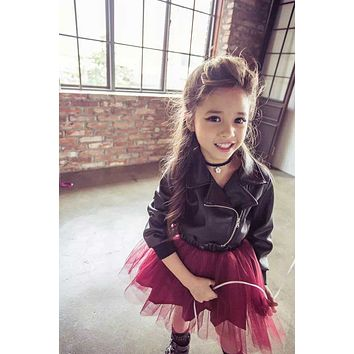 New Girl Princess Leather Dress Party Dress veil red sequined dress Diamond Kids Clothes Birthday wedding