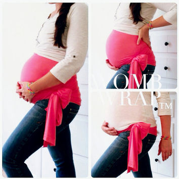 Single Pregnancy Maternity WOMB WRAP Belly Support Belt Band Sash Bamboo Stretch Hot Pink