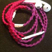 MyBuds Wrapped Tangle-Free Earbuds for iPhone | Bright Fuchsia & Purple | with Microphone and Volume Control
