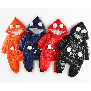 Y01-X519 Children kid's boys girls Clothing baby winter warmer Down jacket zipper hooded overall cartoon Bear Ear 1pcs