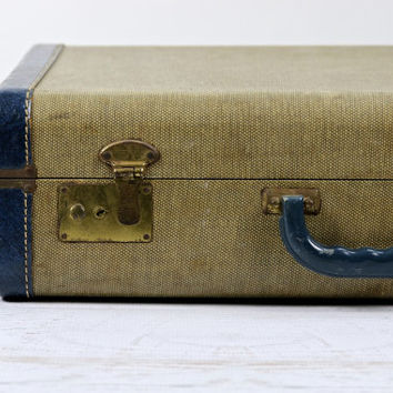 Vintage Suitcase Tweed And Blue Leather